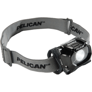 The black version of the Pelican 2755 IECEx Approved Headlamps fitted with a cloth head strap