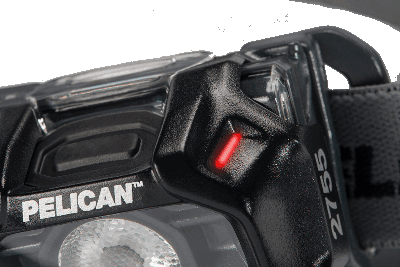 The position of the low battery level indicator on the Pelican 2755 intrinsically safe headlamp