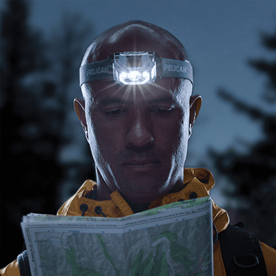 Using the Headlamp's Downcast LED's and the head pivoting ability